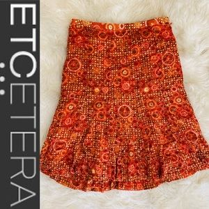 Etcetera Orange Sequin A Line Dress Skirt Size 4